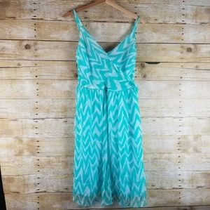Milly Aqua Blue White Chevron 100% Silk Dress 8